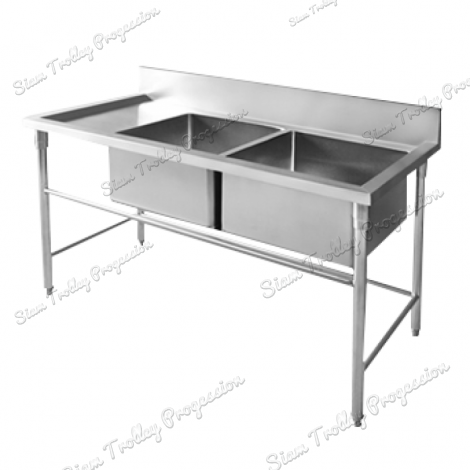 Stainless Steel Double  Bowl Sink Table